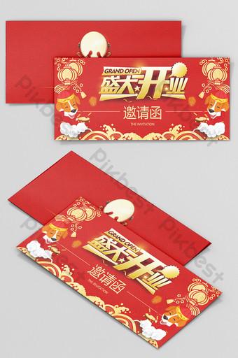 Conception d'invitation d'entreprise de grande ouverture de style chinois festif Modèle PSD