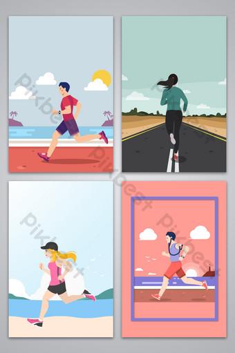 Marathon en cours d'exécution carte de fond de conception de sport Fond Modèle AI