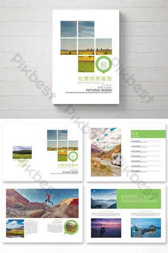 Conception de paquet de brochure de voyage verte et fraîche Modèle AI