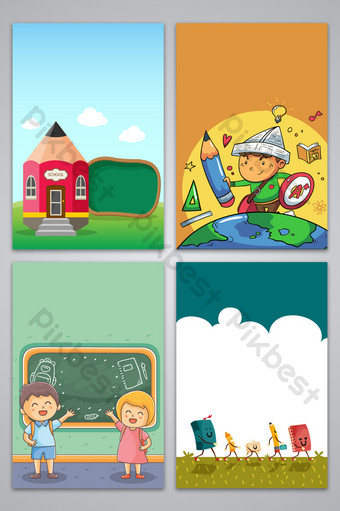 Cartoon style school opening season design background map Backgrounds Template AI