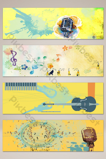 文學手繪音樂樂器橫幅海報背景 背景 模板 PSD