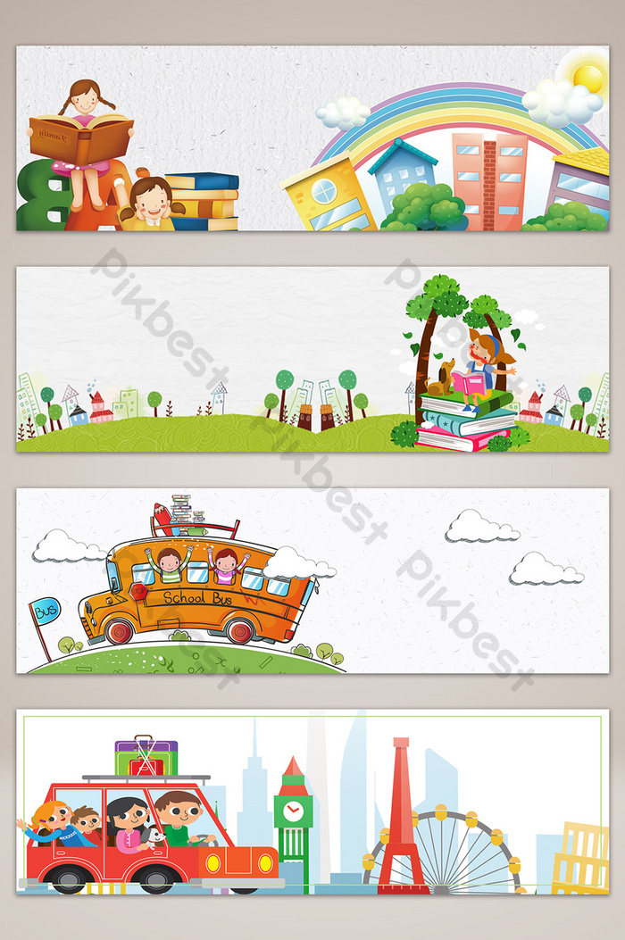 Hand drawn cartoon school education banner poster background