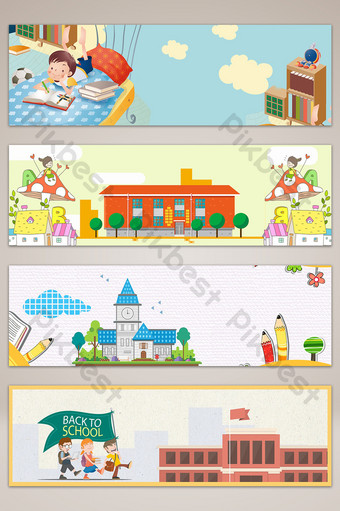 school season campus education banner poster background Backgrounds Template PSD
