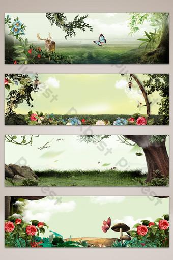 夢幻文藝童話風景橫幅海報背景 背景 模板 PSD