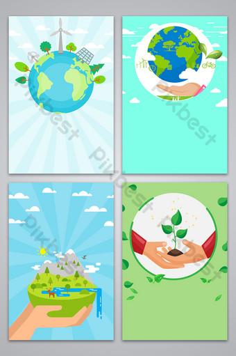Carte de fond de publicité de dessin animé de charité de jour de l'arbre Fond Modèle PSD