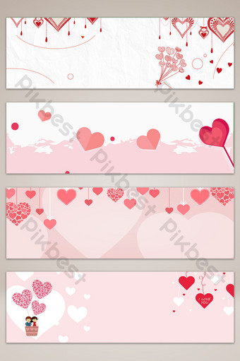 fondo de cartel de banner de día de san valentín de amor dibujado a mano Fondos Modelo PSD