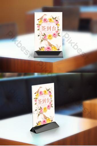 Conception de signe de carte de table de mariage floral peint à la main Modèle PSD