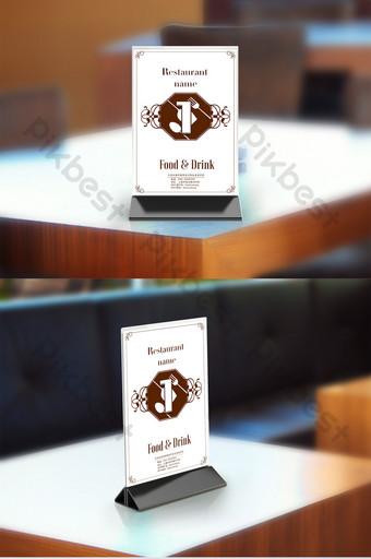 Simple European style restaurant table card hotel sign design Template PSD