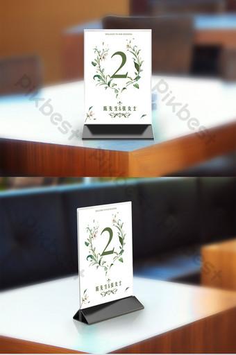 الأخضر الطازج نمط الزفاف الجدول بطاقة تصميم رقم التوقيع قالب PSD