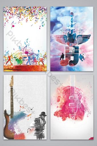 Imagen de fondo del diseño del cartel de la música de la guitarra colorida simple y elegante Fondos Modelo PSD