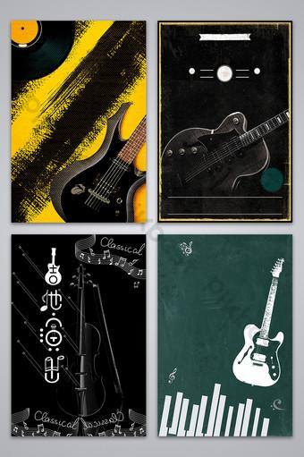 بسيطة الغيتار الداكن أداء ملصق تصميم صورة خلفية خلفيات قالب PSD