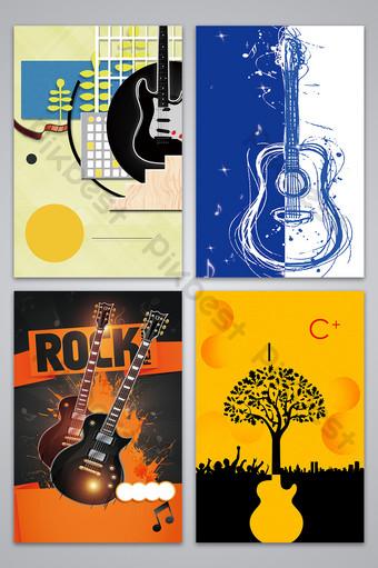 بسيطة مرسومة باليد الغيتار التدريب تصميم ملصق صورة الخلفية خلفيات قالب PSD