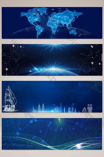 Banner publicitario del sitio web de tecnología azul 2018 Fondos Modelo PSD