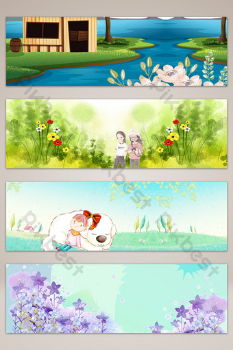 春天草地上的花朵文藝旅遊橫幅海報背景 背景 模板 PSD