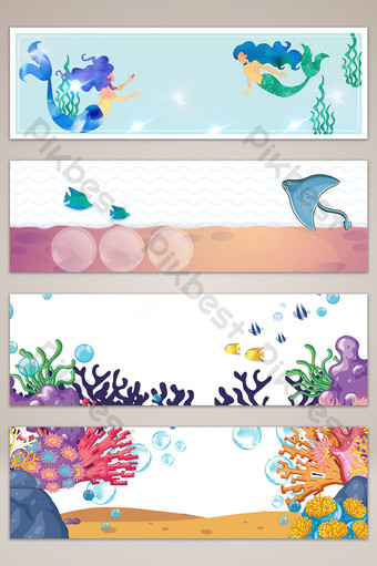Ocean seaside vacation fresh banner poster background Backgrounds Template PSD