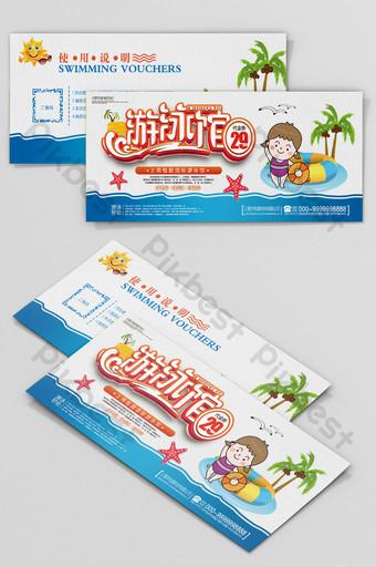 Bons promotionnels de piscine de style dessin animé Modèle PSD