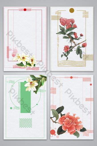 文藝小清新春天的花朵海報背景圖 背景 模板 PSD