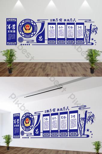 藍色公安警察微立體文化牆uv雕刻 裝飾·模型 模板 AI