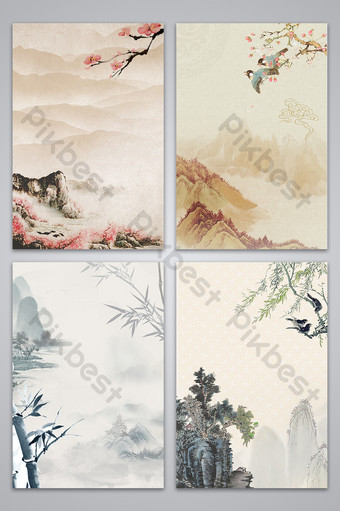 Style chinois paysage herbe fleur bambou saule fleur de pêche fond carte de conception Fond Modèle PSD
