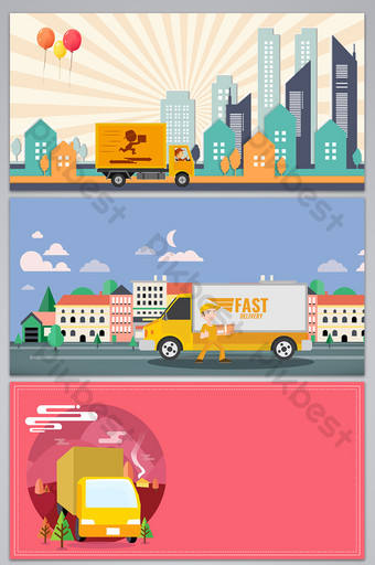 Cartoon express service exhibition board background Backgrounds Template PSD