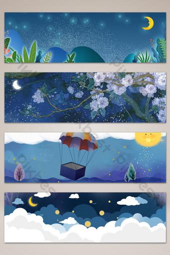 文藝夢幻童話季橫幅海報背景 背景 模板 PSD