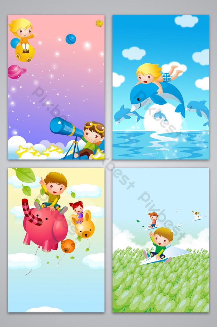 أطفال الكرتون الخيال خلفية خريطة بسيطة خلفيات قالب Psd تحميل