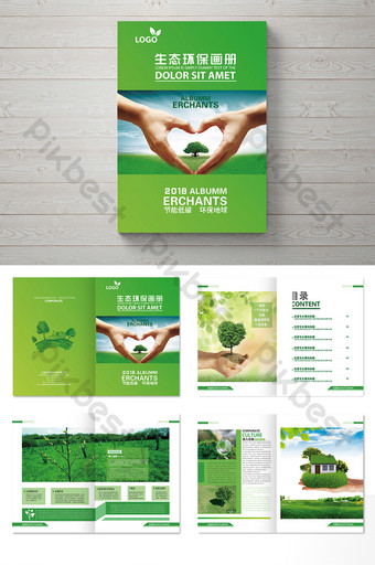 a complete set of concise and fresh ecological environmental protection pictures Template AI