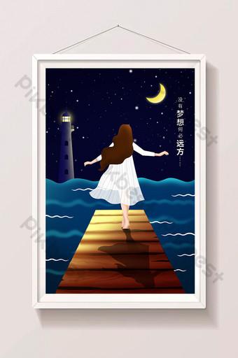 fresh healing girl seaside lighthouse dream illustration Illustration Template PSD