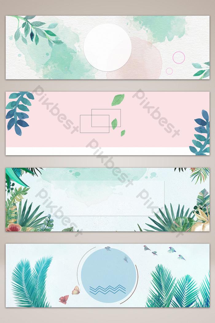 문학 작은 신선한 수채화 꽃 배너 포스터 배경