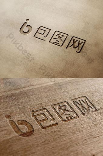 maqueta de etiqueta inteligente con logo de efecto de talla de cuero Modelo PSD