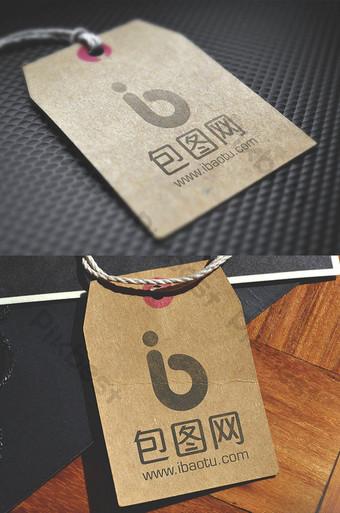 etiqueta de papel kraft efecto de impresión logo maqueta etiqueta inteligente Modelo PSD
