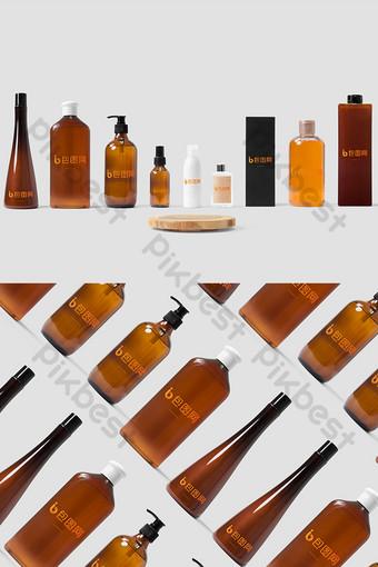 Makieta brązowej butelki kosmetycznej retro Szablon PSD