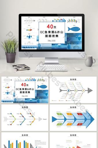 qc lingkaran kontrol kualitas diagram tulang ikan amp gunung es ppt bagan set PowerPoint Templat PPTX