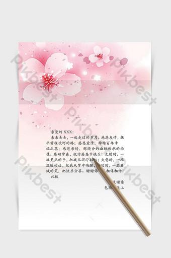 palabra de flor de durazno rosa romántica plantilla de fondo de papelería carta de agradecimiento Word Modelo DOC