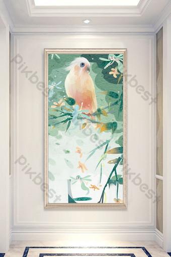 現代客廳臥室鸚鵡花枝圖案裝飾畫裝飾 裝飾·模型 模板 PSD