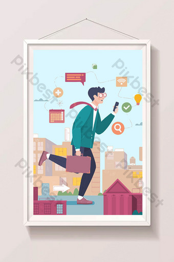 Business illustration business people running to work Illustration Template PSD