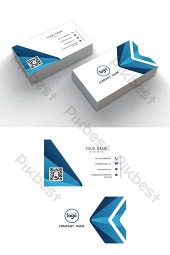 Modèle de carte modifiable de mot entreprise mode géométrique bleu Word Modèle DOC