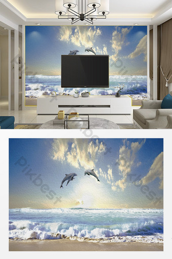 Modern minimalist oil painting texture sea view dolphin TV living room background wall Decors & 3D Models Template PSD