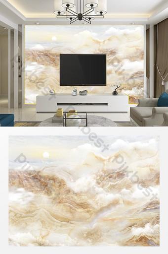 多雲豪華歐洲大理石紋理山水畫電視背景牆 裝飾·模型 模板 PSD