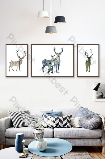 simple animal alce silueta sala de estar decoración pintura Decoración y modelo Modelo PSD