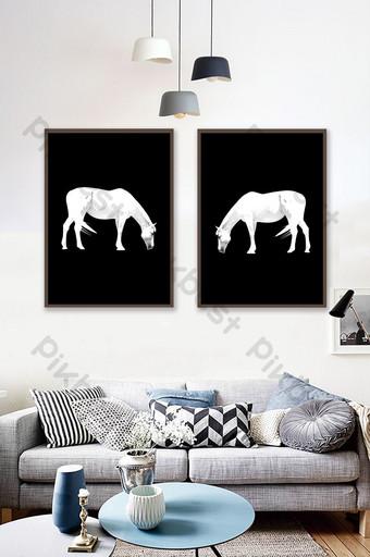 دراسة غرفة المعيشة الحديثة بسيطة وجديدة الحصان الأبيض الحيوان الديكور اللوحة الديكور والنموذج قالب PSD