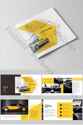 مجموعة من تصميم كتيب السيارة الأصفر البسيط والأنيق قالب AI