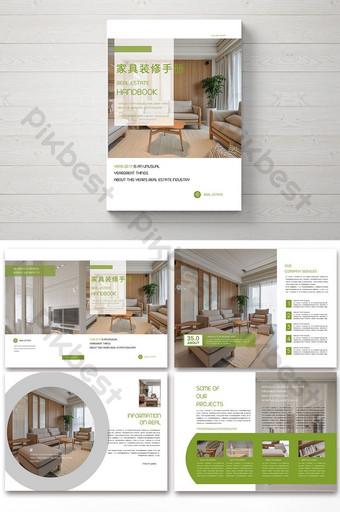 Брошюра по скандинавской мебели в строгом зеленом стиле шаблон PSD