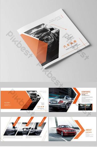 مجموعة من تصميم كتيب السيارة البرتقالي الأنيق والأنيق قالب AI