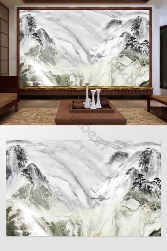 水墨山水大理石紋理電視背景牆 裝飾·模型 模板 PSD