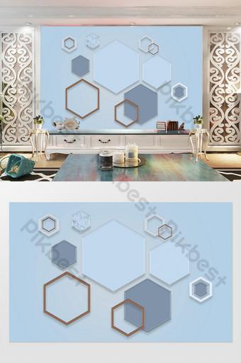 azul nórdico tridimensional geométrico hexágono costura 3d tv fondo pared Decoración y modelo Modelo PSD