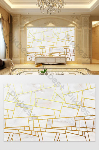 金色幾何線條大理石紋理電視背景牆 裝飾·模型 模板 PSD