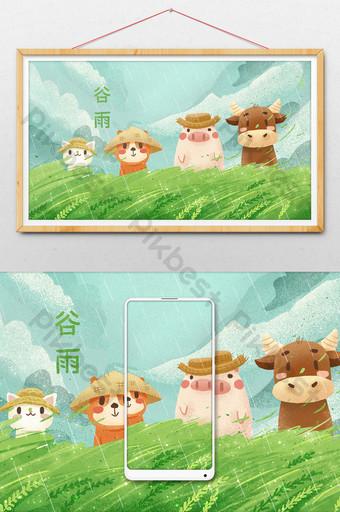Mùa xuân tươi và đẹp động vật dễ thương hạn mặt trời thung lũng mưa phim hoạt hình vẽ tay minh họa Minh họa Bản mẫu PSD