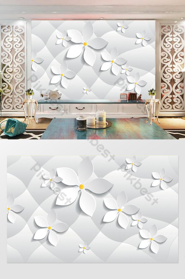 Đồ họa hình học 3d hoa ba chiều hiện đại phòng khách tường nền tv