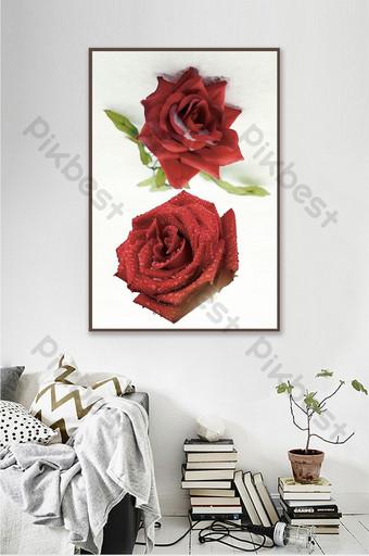 Pintura al óleo realista moderna pared de fondo de dormitorio de estudio de rosa roja Decoración y modelo Modelo PSD